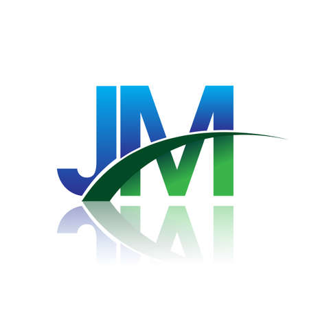 initial letter JM company name colored blue and green swoosh design. vector for business and company identity. Çizim