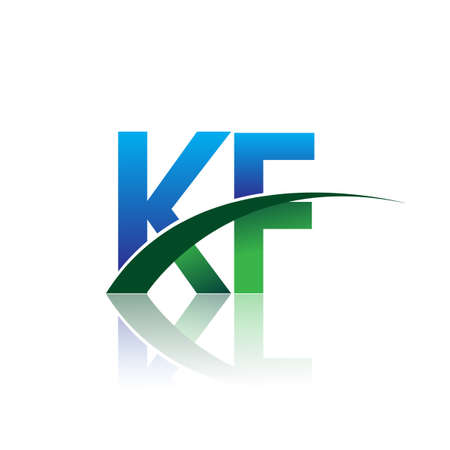 initial letter KF company name colored blue and green swoosh design. vector for business and company identity.