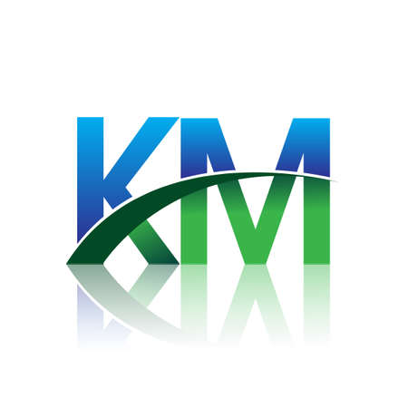 initial letter KM company name colored blue and green swoosh design. vector for business and company identity. Çizim