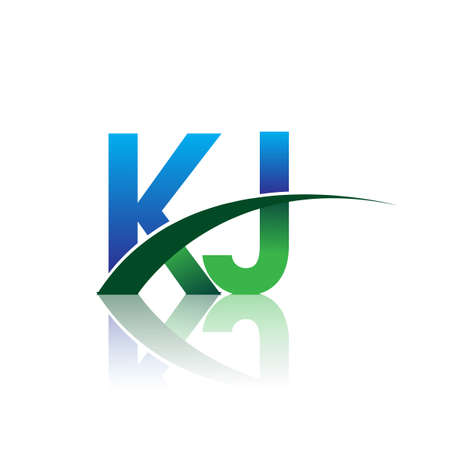 initial letter KJ company name colored blue and green swoosh design. vector for business and company identity.