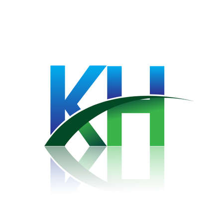 initial letter KH company name colored blue and green swoosh design. vector for business and company identity. Çizim