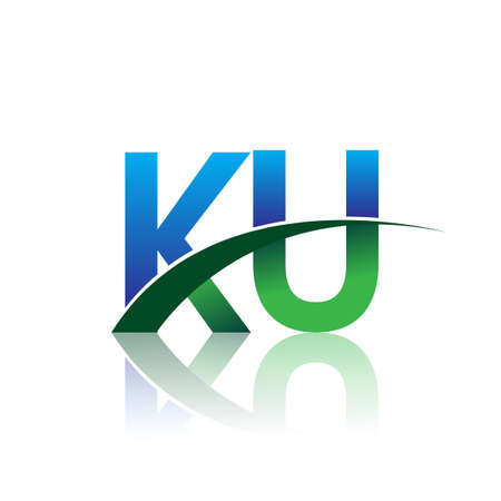 initial letter KU company name colored blue and green swoosh design. vector for business and company identity.