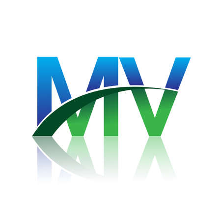 initial letter MV company name colored blue and green swoosh design. vector for business and company identity.