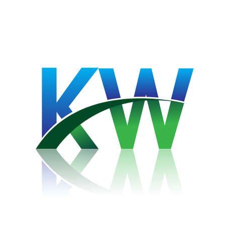 initial letter KW company name colored blue and green swoosh design. vector for business and company identity.