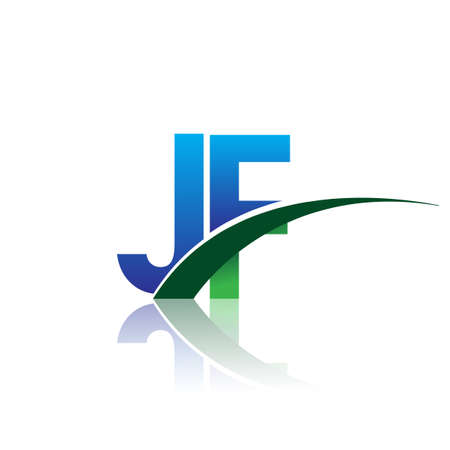 initial letter JF company name colored blue and green swoosh design. vector for business and company identity. Çizim