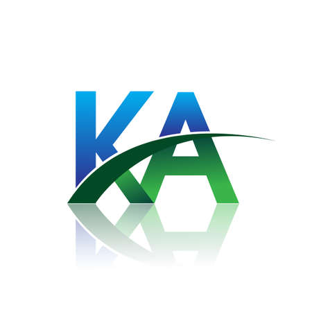 initial letter KA company name colored blue and green swoosh design. vector for business and company identity.