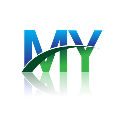 initial letter MY company name colored blue and green swoosh design. vector for business and company identity.