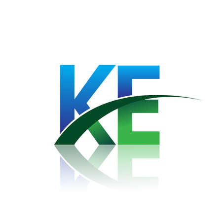 initial letter KE company name colored blue and green swoosh design. vector for business and company identity.