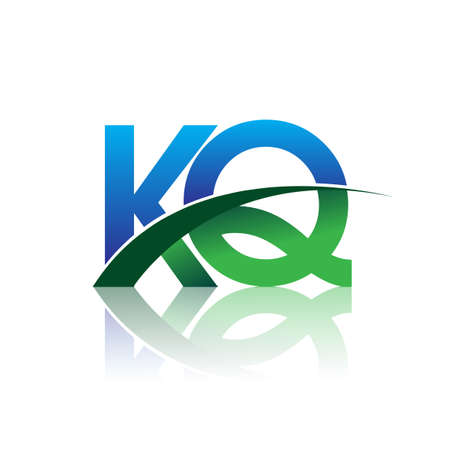 initial letter KQ company name colored blue and green swoosh design. vector for business and company identity.