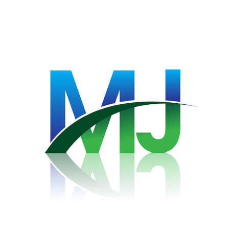 initial letter MJ company name colored blue and green swoosh design. vector for business and company identity.
