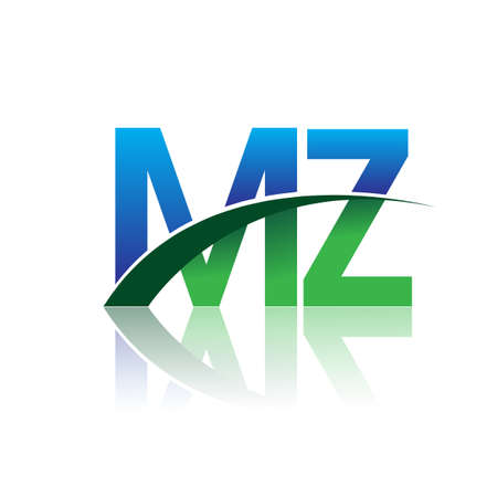 initial letter MZ company name colored blue and green swoosh design. vector for business and company identity. Çizim