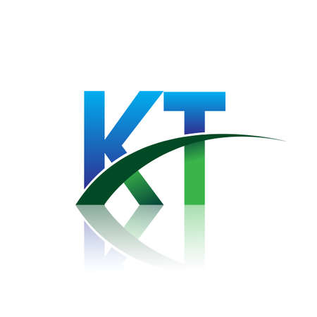 initial letter KT company name colored blue and green swoosh design. vector for business and company identity.