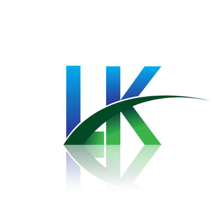 initial letter LK company name colored blue and green swoosh design. vector for business and company identity.