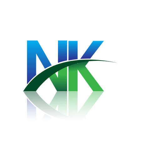 initial letter NK logotype company name colored blue and green swoosh design. vector logo for business and company identity.