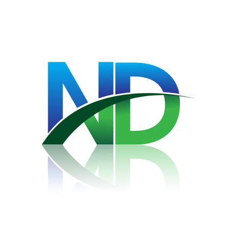 initial letter ND logotype company name colored blue and green swoosh design. vector logo for business and company identity.