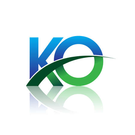initial letter KO logotype company name colored blue and green swoosh design. vector logo for business and company identity.