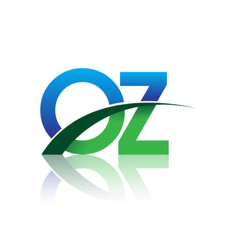 initial letter OZ logotype company name colored blue and green swoosh design. vector logo for business and company identity. Ilustração