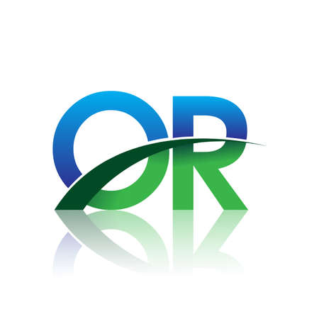 initial letter OR logotype company name colored blue and green swoosh design. vector logo for business and company identity.