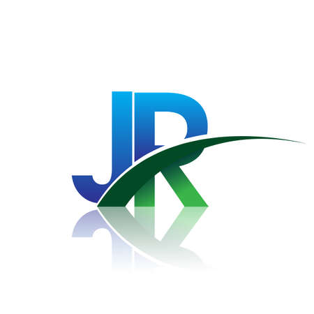 initial letter JR logotype company name colored blue and green swoosh design. vector logo for business and company identity.