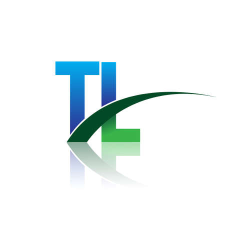initial letter TL logotype company name colored blue and green swoosh design. vector logo for business and company identity.