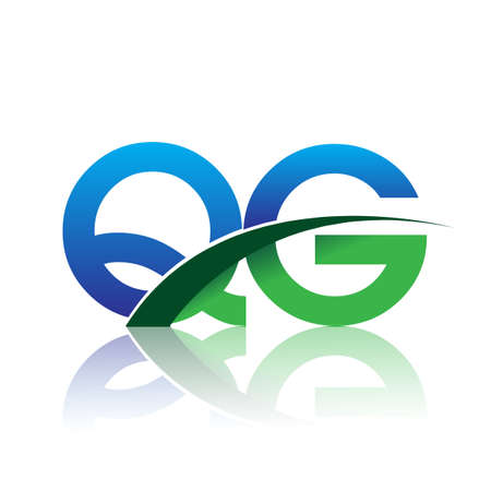 initial letter QG logotype company name colored blue and green swoosh design. vector logo for business and company identity.