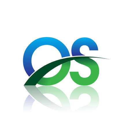 initial letter OS logotype company name colored blue and green swoosh design. vector logo for business and company identity.
