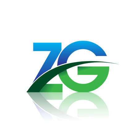 initial letter ZG logotype company name colored blue and green swoosh design. vector logo for business and company identity.