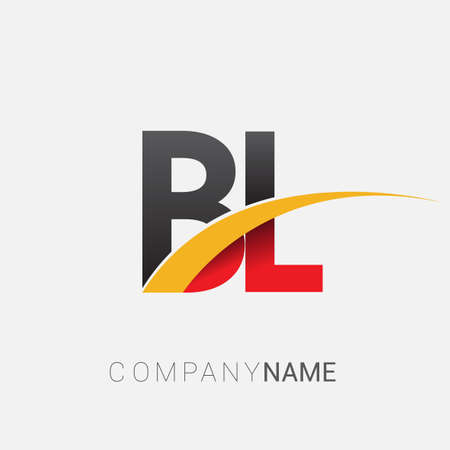 initial letter BL logotype company name colored red, black and yellow swoosh design. isolated on white background.