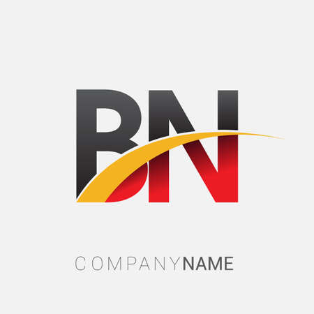 initial letter BN logotype company name colored red, black and yellow swoosh design. isolated on white background. Logó