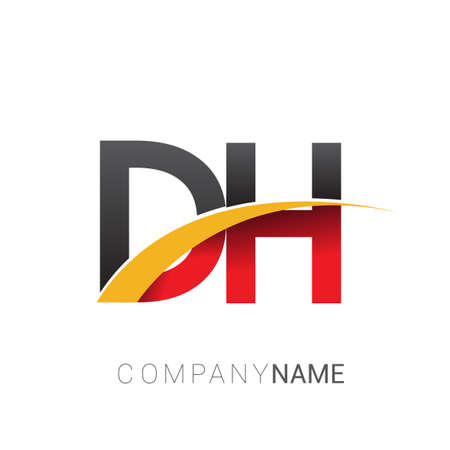 initial letter DH logotype company name colored red, black and yellow swoosh design. isolated on white background.