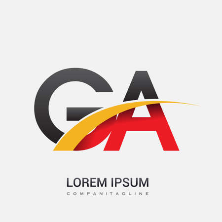 initial letter GA logotype company name colored red, black and yellow swoosh design. isolated on white background.