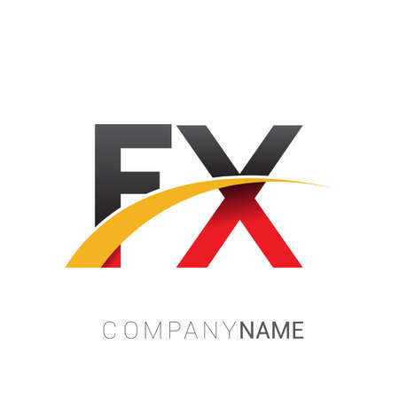 initial letter FX logotype company name colored red, black and yellow swoosh design. isolated on white background.