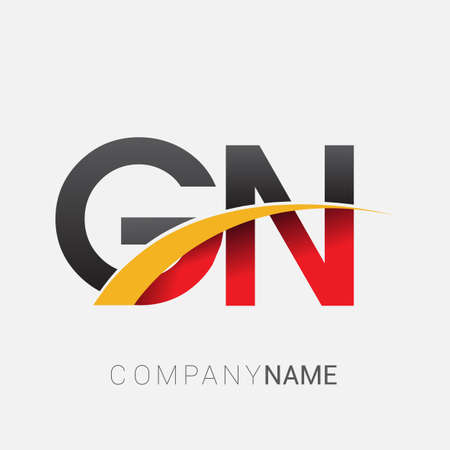 initial letter GN logotype company name colored red, black and yellow swoosh design. isolated on white background.