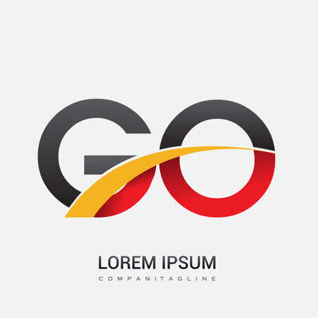 initial letter GO logotype company name colored red, black and yellow swoosh design. isolated on white background. Ilustração