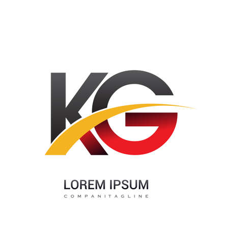 initial letter KG logotype company name colored red, black and yellow swoosh design. isolated on white background.