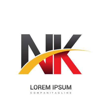 initial letter NK company name colored red, black and yellow swoosh design. isolated on white background.