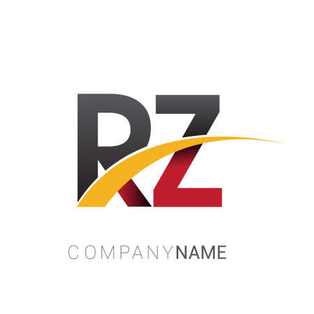 initial letter RZ logotype company name colored red, black and yellow swoosh design. isolated on white background.