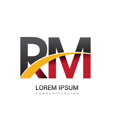 initial letter RM logotype company name colored red, black and yellow swoosh design. isolated on white background.