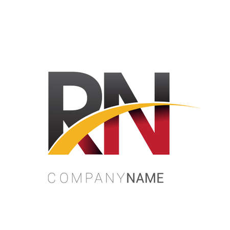 initial letter RN logotype company name colored red, black and yellow swoosh design. isolated on white background.