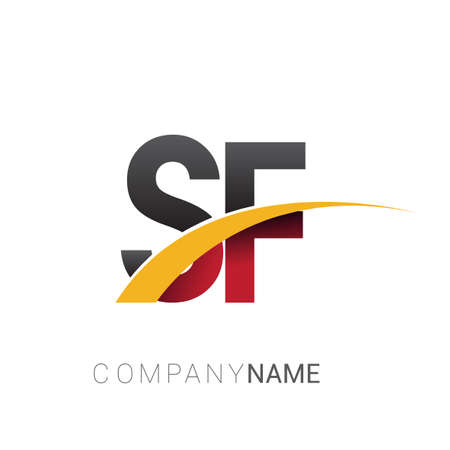 initial letter SF logotype company name colored red, black and yellow swoosh design. isolated on white background.