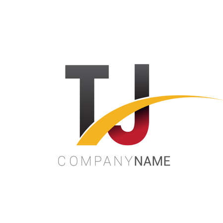 initial letter TJ logotype company name colored red, black and yellow swoosh design. isolated on white background.