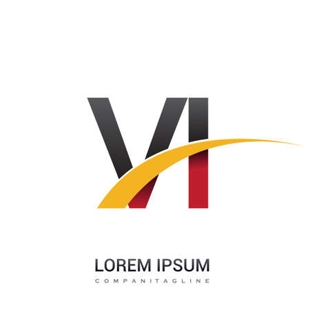 initial letter VI logotype company name colored red, black and yellow swoosh design. isolated on white background.