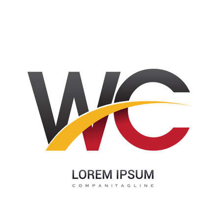 initial letter WC   company name colored red, black and yellow swoosh design. isolated on white background. Çizim