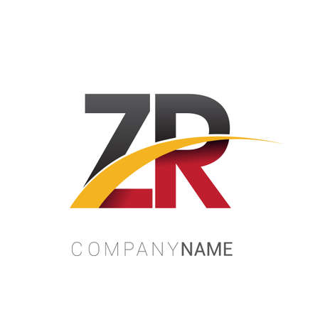initial letter ZR company name colored red, black and yellow swoosh design. isolated on white background.