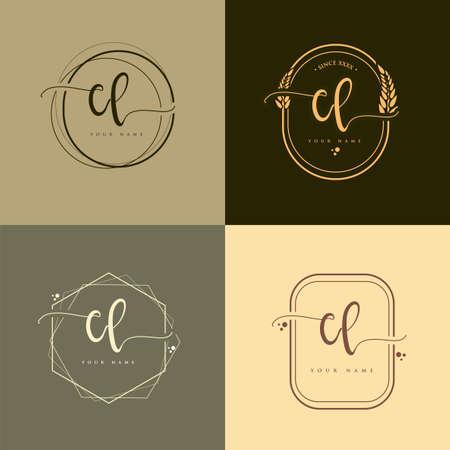 CL Initial handwriting logo vector sets. Hand lettering Initials logo branding, Feminine and luxury logo design.