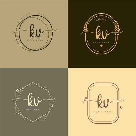 KV Initial handwriting logo vector sets. Hand lettering Initials logo branding, Feminine and luxury logo design. Logó