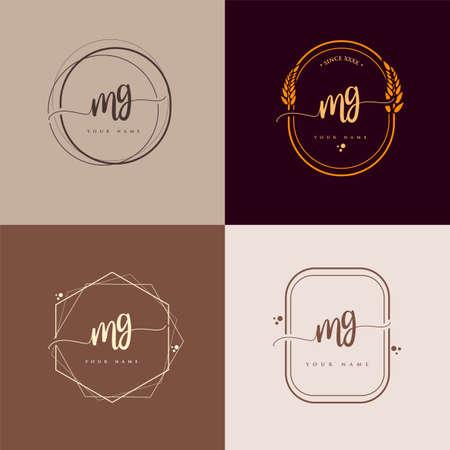 MG Initial handwriting logo vector sets. Hand lettering Initials logo branding, Feminine and luxury logo design.