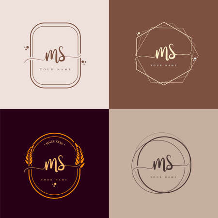 MS Initial handwriting logo vector sets. Hand lettering Initials logo branding, Feminine and luxury logo design.