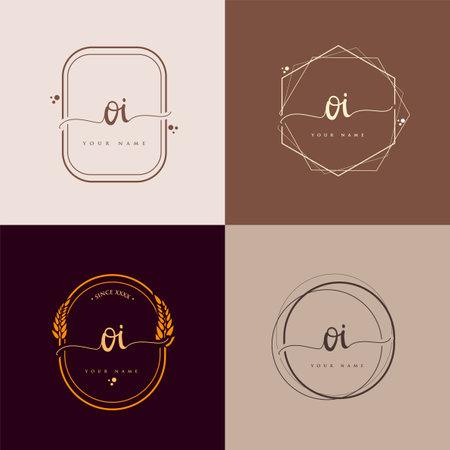 OI Initial handwriting logo vector sets. Hand lettering Initials logo branding, Feminine and luxury logo design. Logo