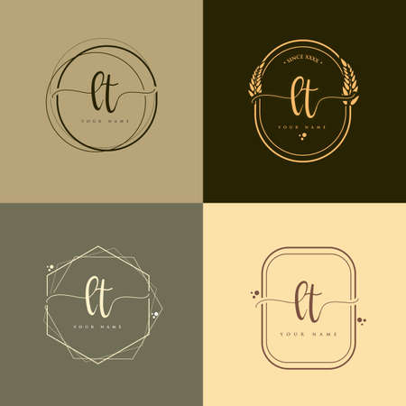 LT Initial handwriting logo vector sets. Hand lettering Initials logo branding, Feminine and luxury logo design. Logo